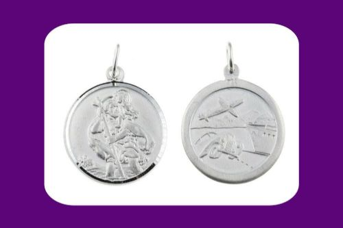 Saint Christopher Pendant Sterling Silver 925 Hallmark 22mm All Chain Lengths